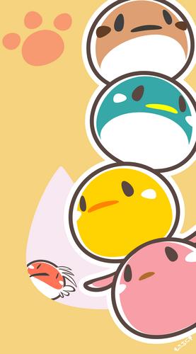 ふくら雀,ペンギン,ひよこ,犬,トキ